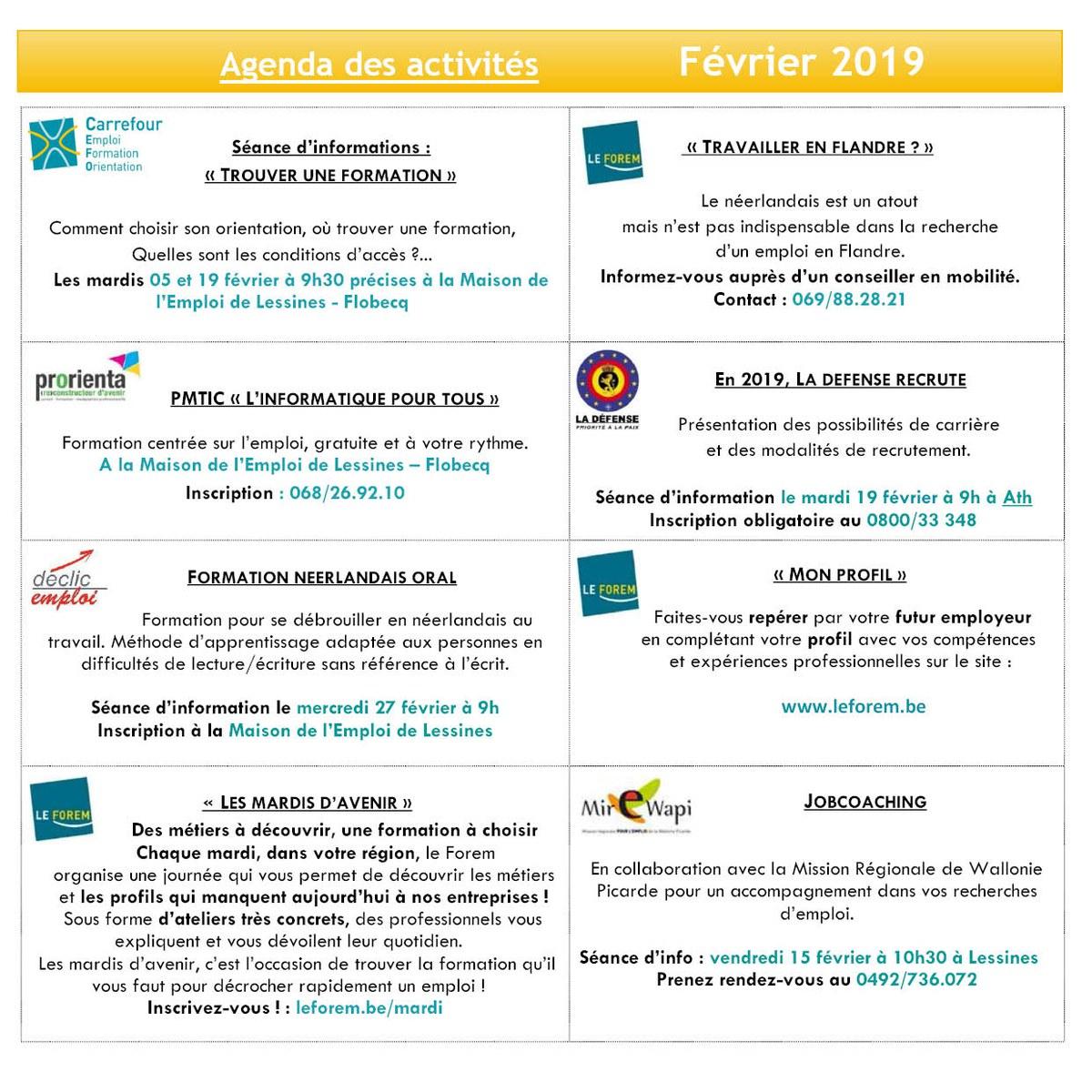 Agenda Mde Lessines   Février 2019