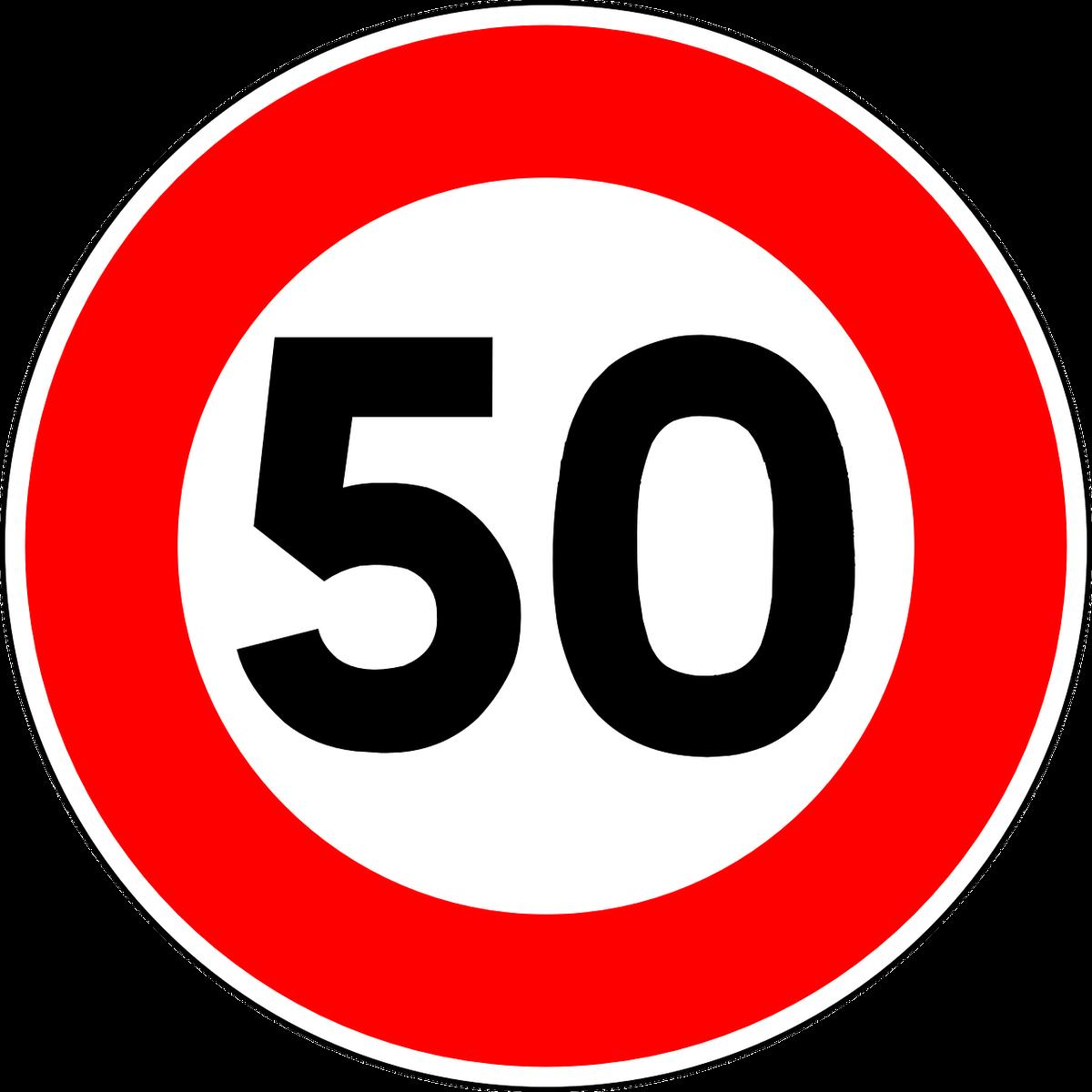 Panneau routier de limitation de vitesse à 50km/h